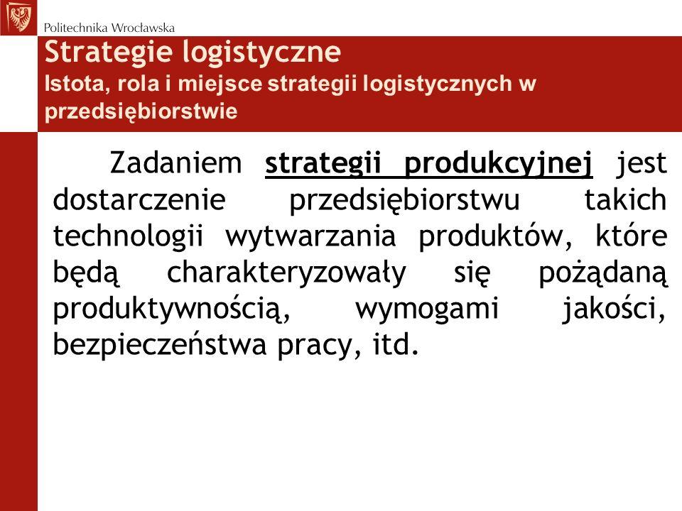 Strategie logistyczne Istota, rola i miejsce strategii logistycznych w przedsiębiorstwie strategii produkcyjnej Zadaniem strategii produkcyjnej jest d