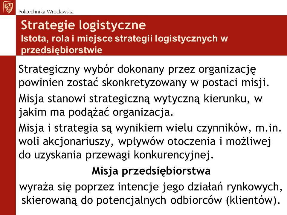 Strategie logistyczne Istota, rola i miejsce strategii logistycznych w przedsiębiorstwie Strategiczny wybór dokonany przez organizację powinien zostać