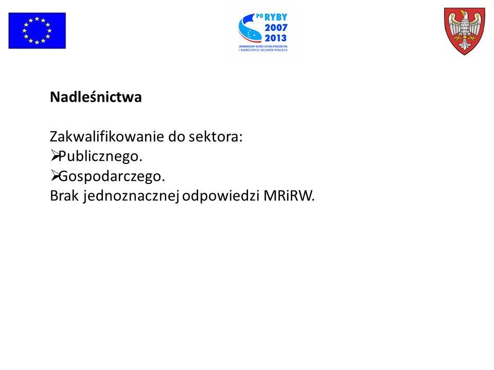 Nadleśnictwa Zakwalifikowanie do sektora: Publicznego.
