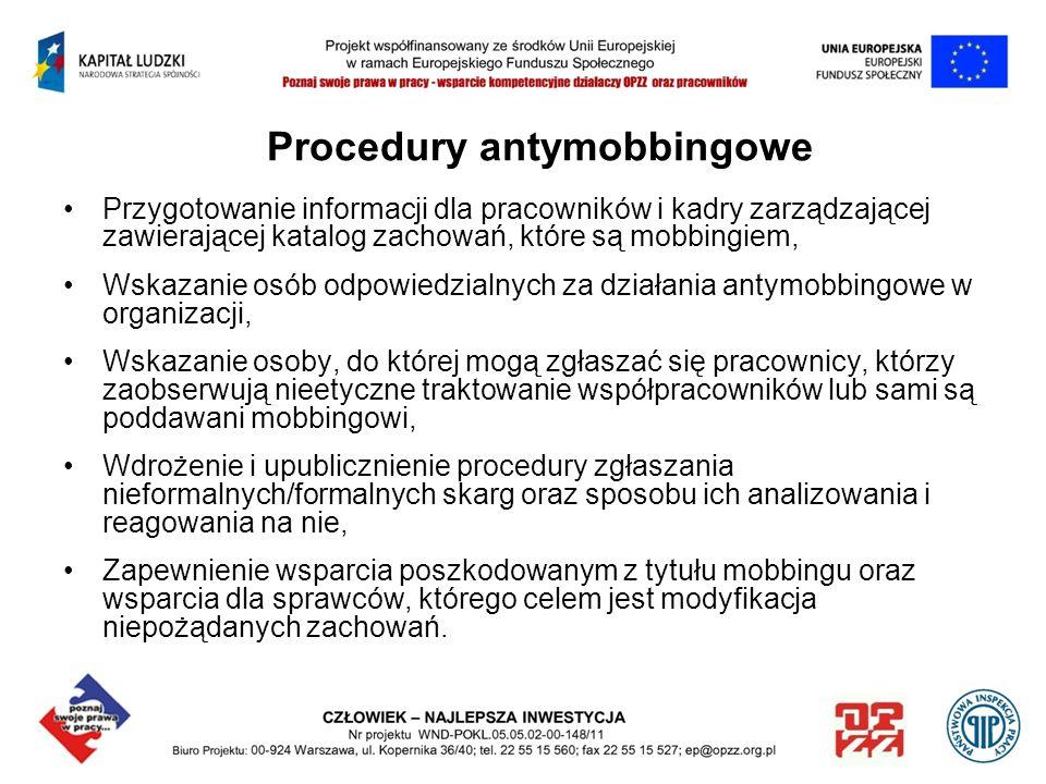 Procedury antymobbingowe Przygotowanie informacji dla pracowników i kadry zarządzającej zawierającej katalog zachowań, które są mobbingiem, Wskazanie
