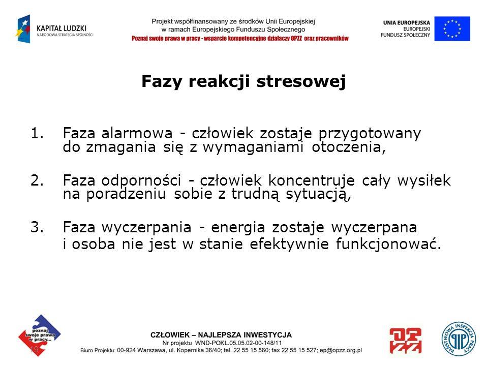19 Fazy reakcji stresowej 1.Faza alarmowa - człowiek zostaje przygotowany do zmagania się z wymaganiami otoczenia, 2. Faza odporności - człowiek konce