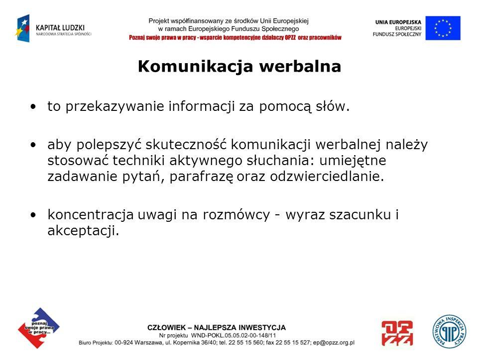 Komunikacja werbalna to przekazywanie informacji za pomocą słów. aby polepszyć skuteczność komunikacji werbalnej należy stosować techniki aktywnego sł