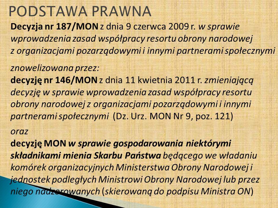 Decyzja nr 187/MON z dnia 9 czerwca 2009 r. w sprawie wprowadzenia zasad współpracy resortu obrony narodowej z organizacjami pozarządowymi i innymi pa