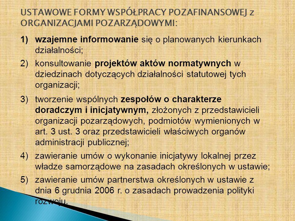 USTAWOWE FORMY WSPÓŁPRACY POZAFINANSOWEJ z ORGANIZACJAMI POZARZĄDOWYMI: 1)wzajemne informowanie się o planowanych kierunkach działalności; 2)konsultow