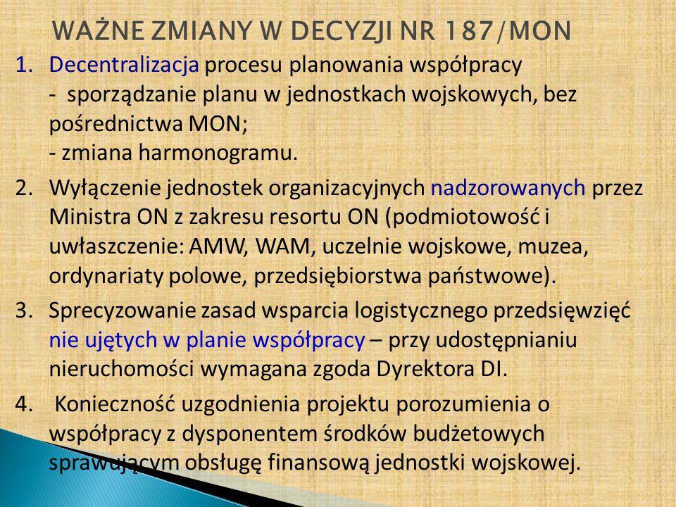 NOWELIZACJA DECYZJI NR 187/MON Planowanie współpracy w jednostkach wojskowych – bez pośrednictwa MON Wnioski partnerów społecznych (PS) Dowódcy jednostek wojskowych (JW), od których PS oczekują wsparcia Do 10 września Do 30 września Plany współpracy JWDrogą służbową do uzgodnienia w dowództwach RSZ (IWSZ, DGW, KGŻW) Uzgodnione plany współpracy RSZ (DOSZ, IWSZ, DGW, KGŻW) Do 31 października Do akceptacji Sekretarza Stanu i do wiadomości Szefa Sztabu Generalnego Do 30 listopada Zaakceptowane plany RSZ (DOSZ, IWSZ, DGW, KGŻW) Do realizacji do podległych jednostek organizacyjnych