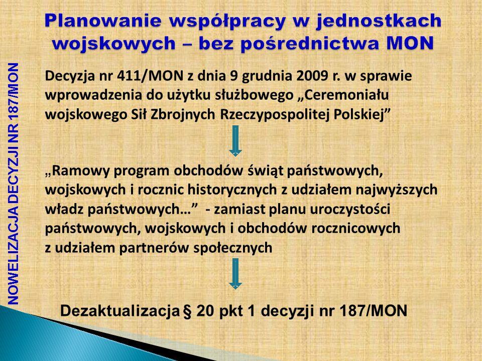 NOWELIZACJA DECYZJI NR 187/MON Planowanie współpracy w jednostkach wojskowych – bez pośrednictwa MON Decyzja nr 411/MON z dnia 9 grudnia 2009 r. w spr