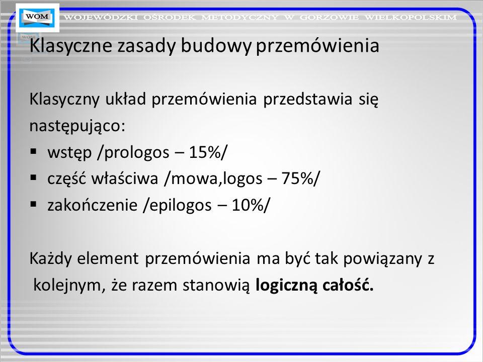 Klasyczne zasady budowy przemówienia Klasyczny układ przemówienia przedstawia się następująco: wstęp /prologos – 15%/ część właściwa /mowa,logos – 75%