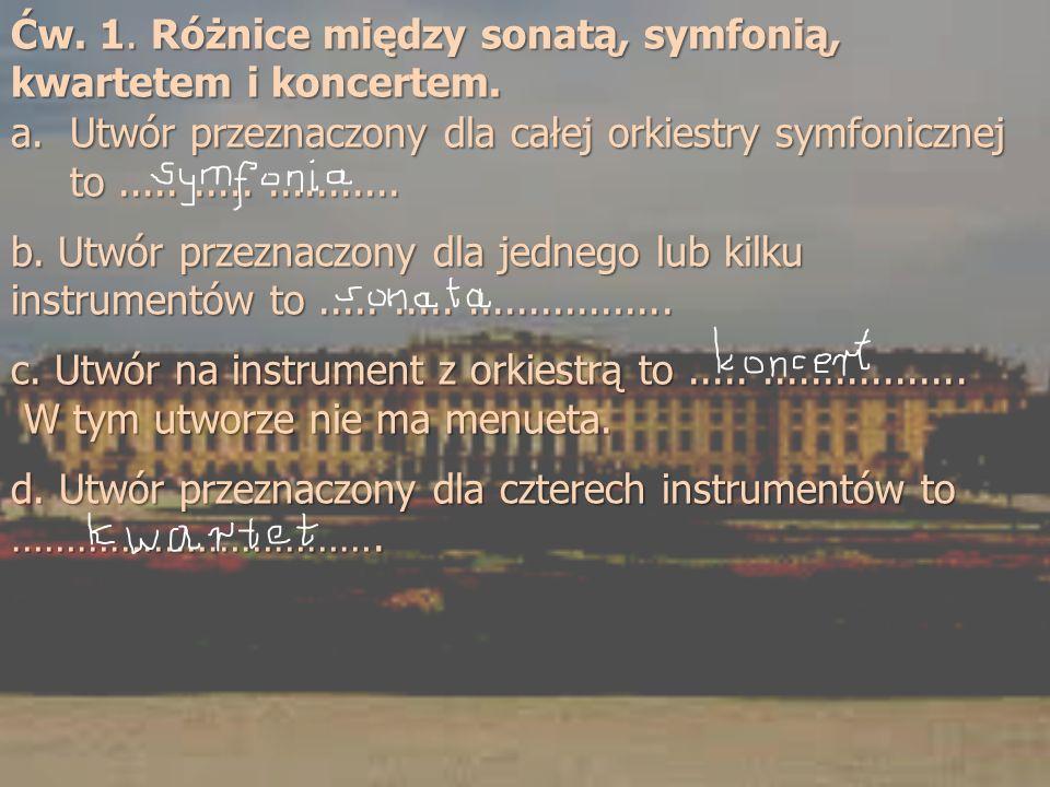 Ćw. 1. Różnice między sonatą, symfonią, kwartetem i koncertem. a.Utwór przeznaczony dla całej orkiestry symfonicznej to..................... b. Utwór