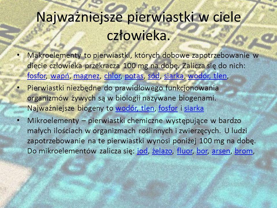 Pierwiastki w ciele człowieka Wykonali: Tomasz Renkas Paweł Trawiński Rafał Rajski Rafał Rajski I D