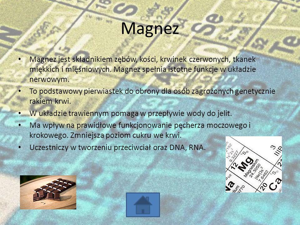 Magnez Magnez jest składnikiem zębów, kości, krwinek czerwonych, tkanek miękkich i mięśniowych.
