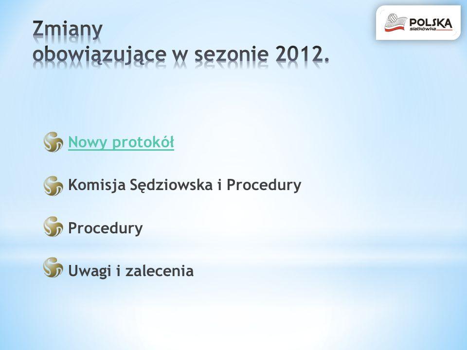 Nowy protokół Komisja Sędziowska i Procedury Procedury Uwagi i zalecenia
