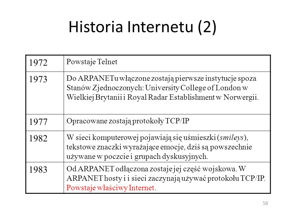 58 Historia Internetu (2) 1972 Powstaje Telnet 1973 Do ARPANETu włączone zostają pierwsze instytucje spoza Stanów Zjednoczonych: University College of London w Wielkiej Brytanii i Royal Radar Establishment w Norwergii.
