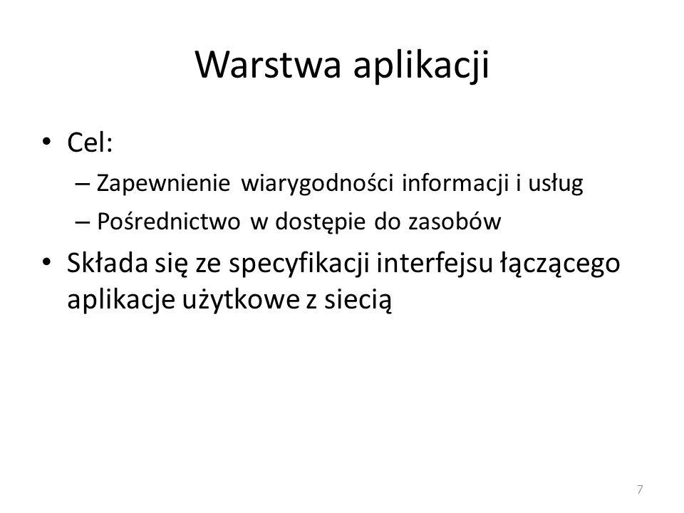 8 Warstwa prezentacji Wielopoziomowa interpretacja danych na użytek warstwy aplikacji – Tłumaczenie danych (np.