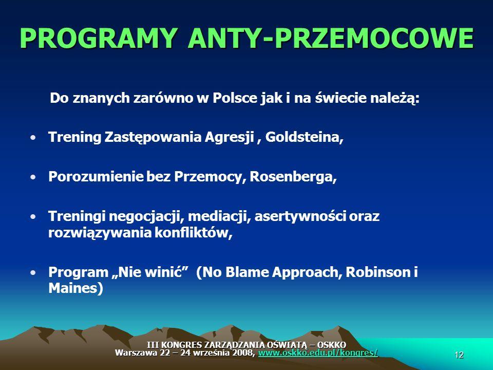 PROGRAMY ANTY-PRZEMOCOWE Do znanych zarówno w Polsce jak i na świecie należą: Trening Zastępowania Agresji, Goldsteina, Porozumienie bez Przemocy, Ros