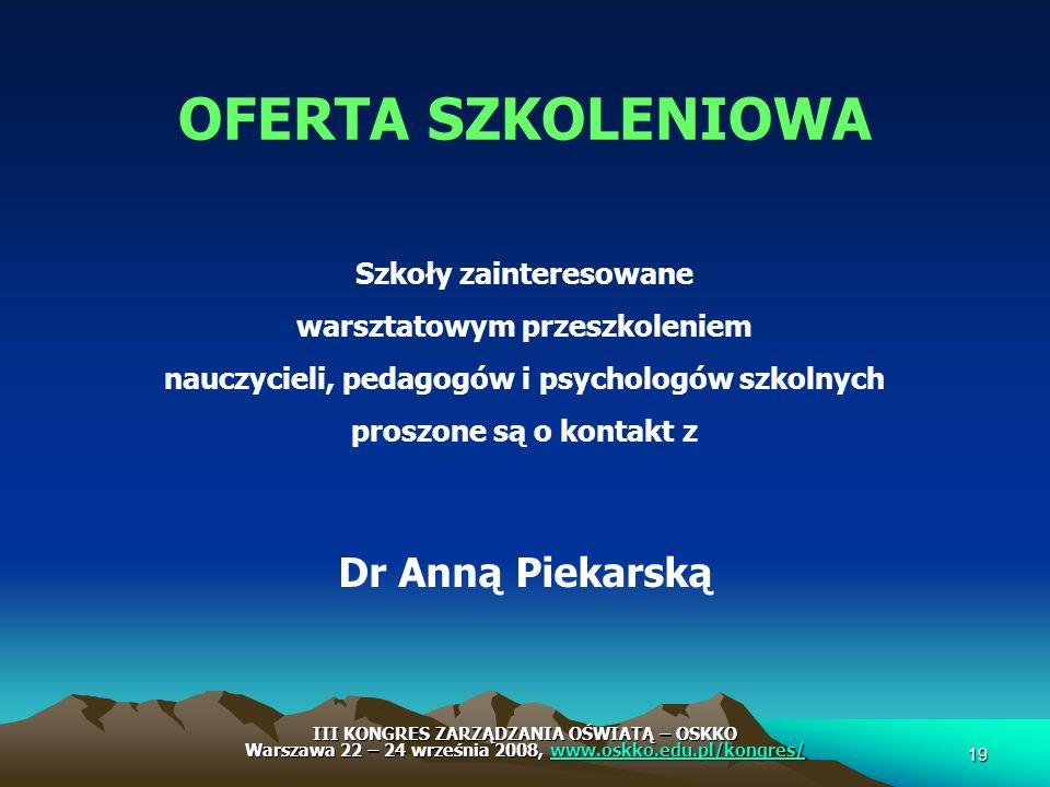 Szkoły zainteresowane warsztatowym przeszkoleniem nauczycieli, pedagogów i psychologów szkolnych proszone są o kontakt z Dr Anną Piekarską OFERTA SZKO