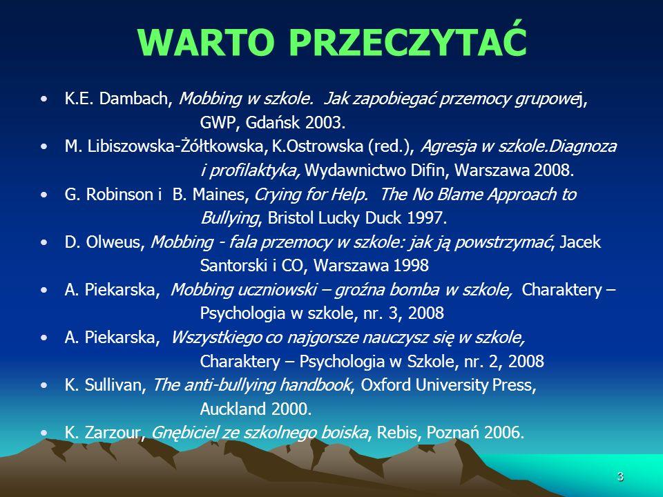 WARTO PRZECZYTAĆ K.E. Dambach, Mobbing w szkole. Jak zapobiegać przemocy grupowej, GWP, Gdańsk 2003. M. Libiszowska-Żółtkowska, K.Ostrowska (red.), Ag