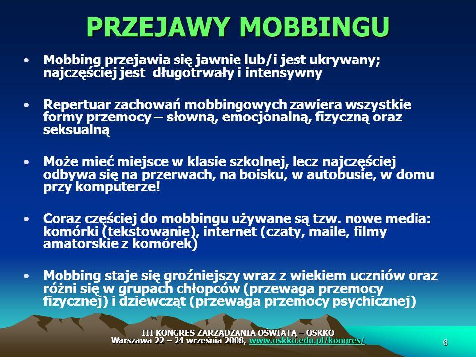 PRZEJAWY MOBBINGU Mobbing przejawia się jawnie lub/i jest ukrywany; najczęściej jest długotrwały i intensywny Repertuar zachowań mobbingowych zawiera