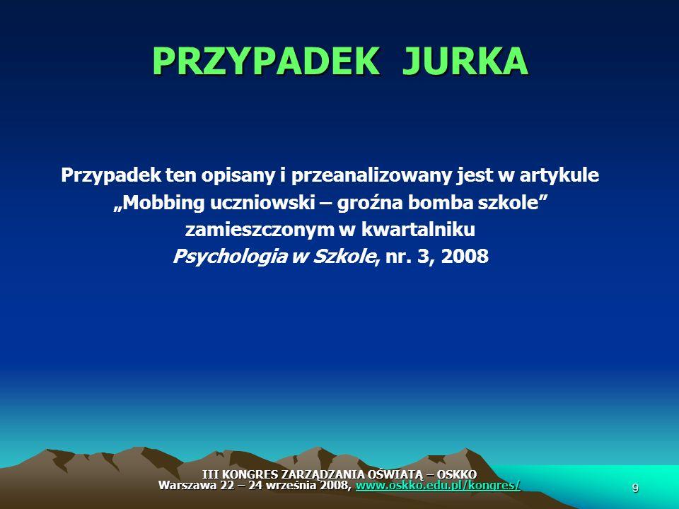 SERDECZNIE DZIĘKUJĘ ZAPRASZAM DO DYSKUSJI oraz ZADAWANIA PYTAŃ Kontakt - Anna Piekarska Email - a.piekarska@xtra.co.nz lub przez Redakcję - Psychologia w Szkole 20 III KONGRES ZARZĄDZANIA OŚWIATĄ – OSKKO Warszawa 22 – 24 września 2008, www.oskko.edu.pl/kongres/ www.oskko.edu.pl/kongres/