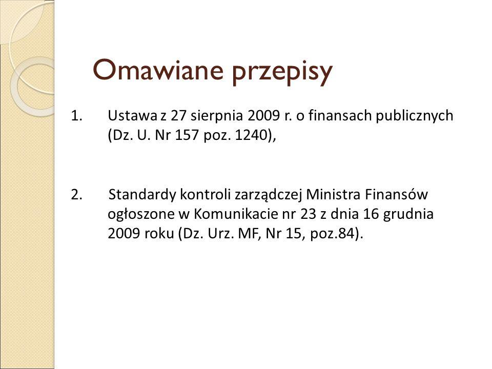 Omawiane przepisy 1.Ustawa z 27 sierpnia 2009 r. o finansach publicznych (Dz. U. Nr 157 poz. 1240), 2. Standardy kontroli zarządczej Ministra Finansów