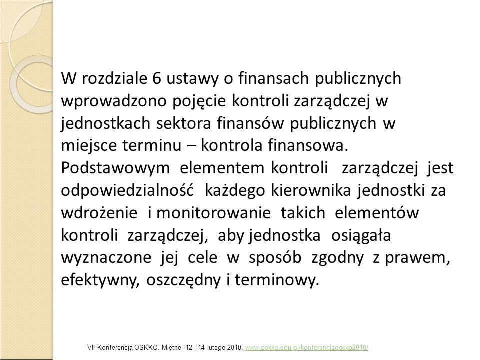 W rozdziale 6 ustawy o finansach publicznych wprowadzono pojęcie kontroli zarządczej w jednostkach sektora finansów publicznych w miejsce terminu – ko
