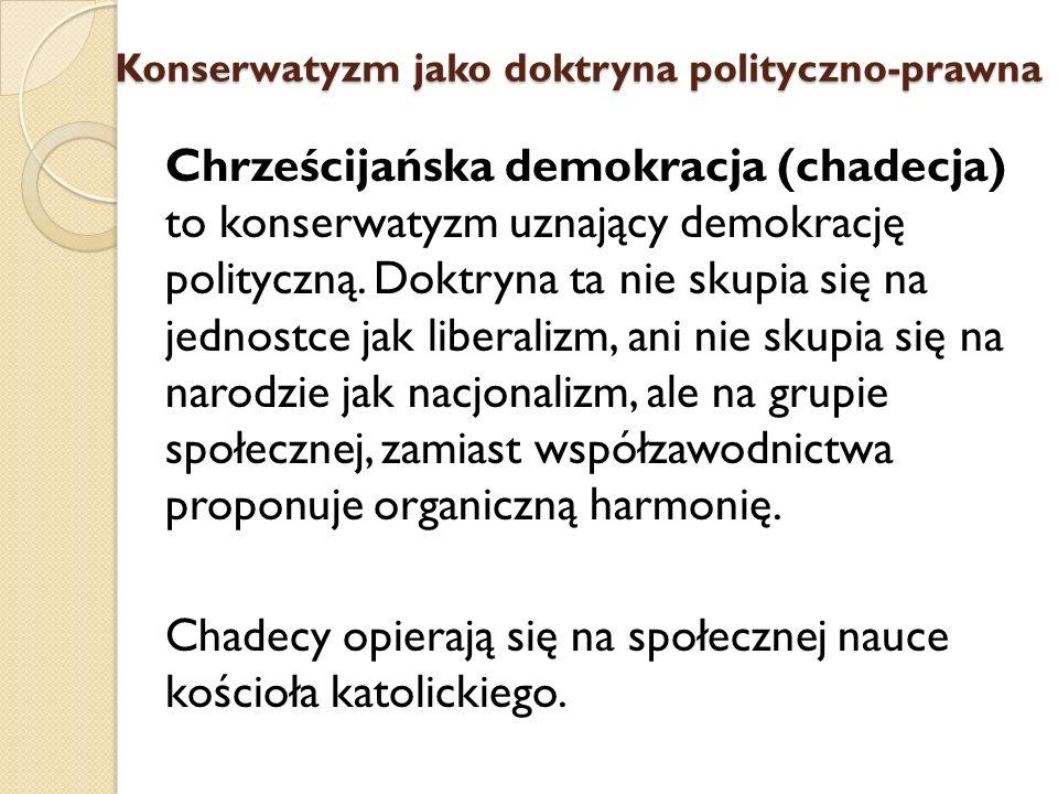 Chrześcijańska demokracja (chadecja) to konserwatyzm uznający demokrację polityczną. Doktryna ta nie skupia się na jednostce jak liberalizm, ani nie s
