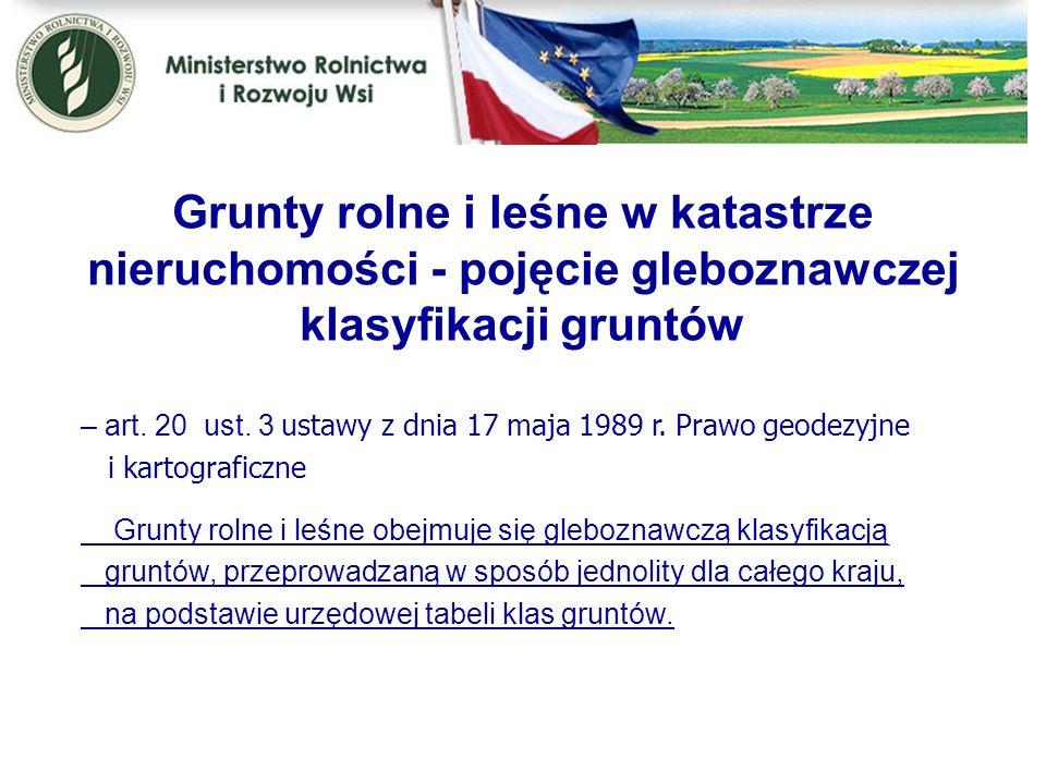 Grunty rolne i leśne w katastrze nieruchomości - pojęcie gleboznawczej klasyfikacji gruntów – art. 20 ust. 3 u stawy z dnia 17 maja 1989 r. Prawo geod