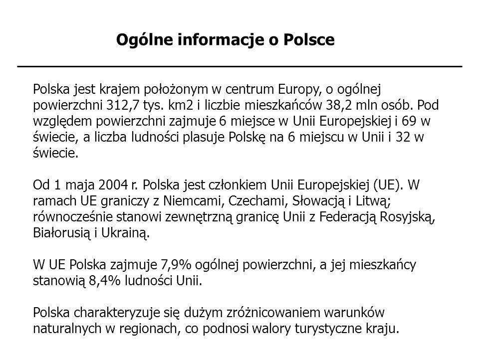 Ogólne informacje o Polsce Polska jest krajem położonym w centrum Europy, o ogólnej powierzchni 312,7 tys. km2 i liczbie mieszkańców 38,2 mln osób. Po