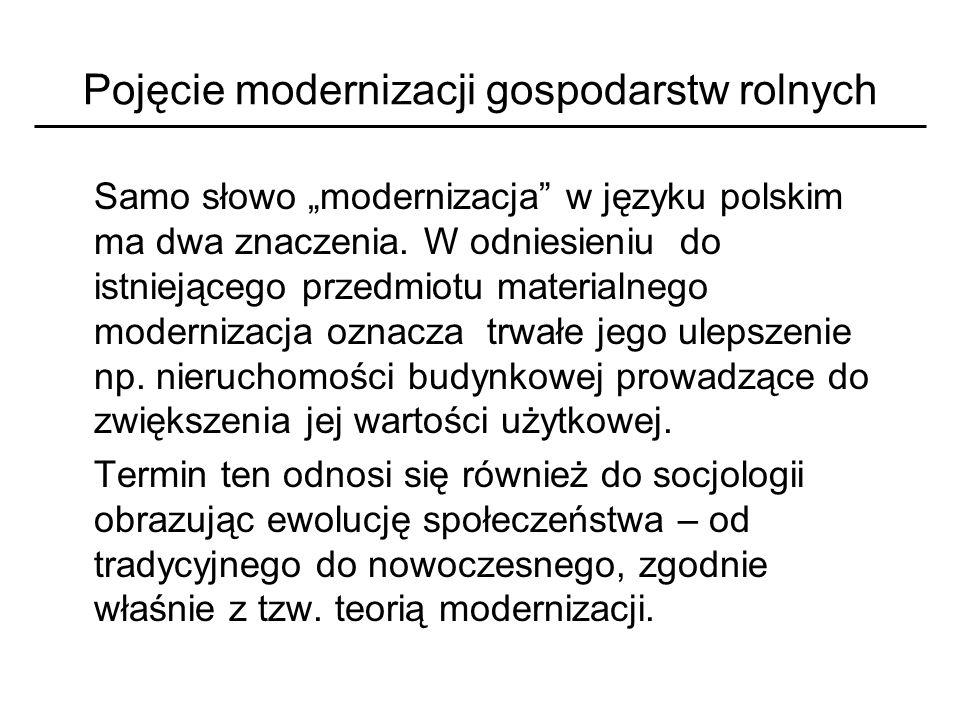 Pojęcie modernizacji gospodarstw rolnych Samo słowo modernizacja w języku polskim ma dwa znaczenia. W odniesieniu do istniejącego przedmiotu materialn
