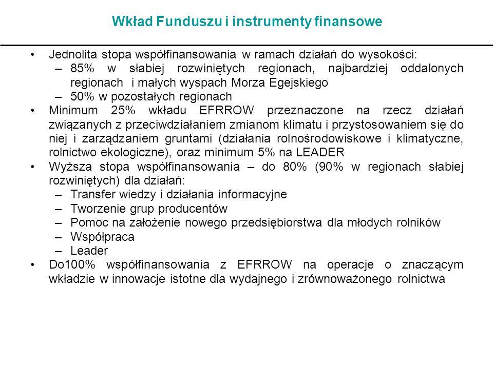 Wkład Funduszu i instrumenty finansowe Jednolita stopa współfinansowania w ramach działań do wysokości: –85% w słabiej rozwiniętych regionach, najbard