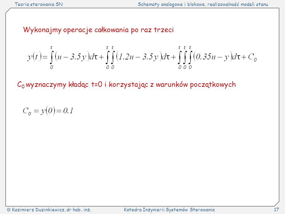 Teoria sterowania SNSchematy analogowe i blokowe, realizowalność modeli stanu Kazimierz Duzinkiewicz, dr hab.