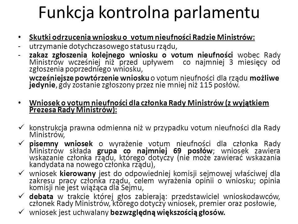 Funkcja kontrolna parlamentu Skutki odrzucenia wniosku o votum nieufności Radzie Ministrów: -utrzymanie dotychczasowego statusu rządu, -zakaz zgłoszen
