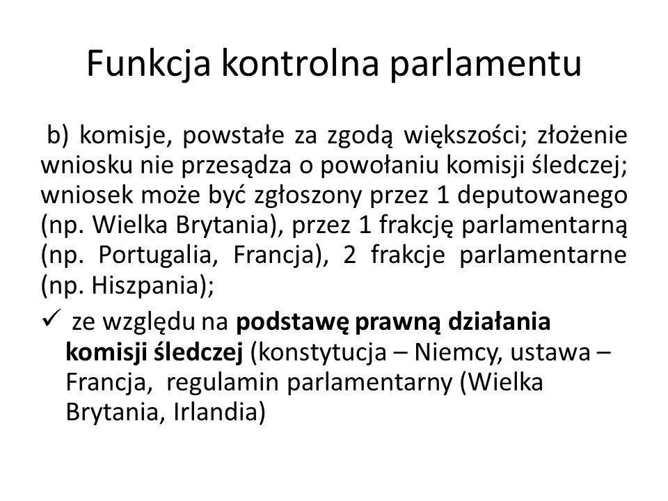 Funkcja kontrolna parlamentu b) komisje, powstałe za zgodą większości; złożenie wniosku nie przesądza o powołaniu komisji śledczej; wniosek może być z