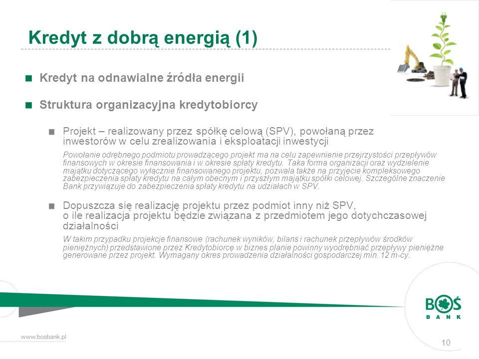 10 Kredyt z dobrą energią (1) Kredyt na odnawialne źródła energii Struktura organizacyjna kredytobiorcy Projekt – realizowany przez spółkę celową (SPV
