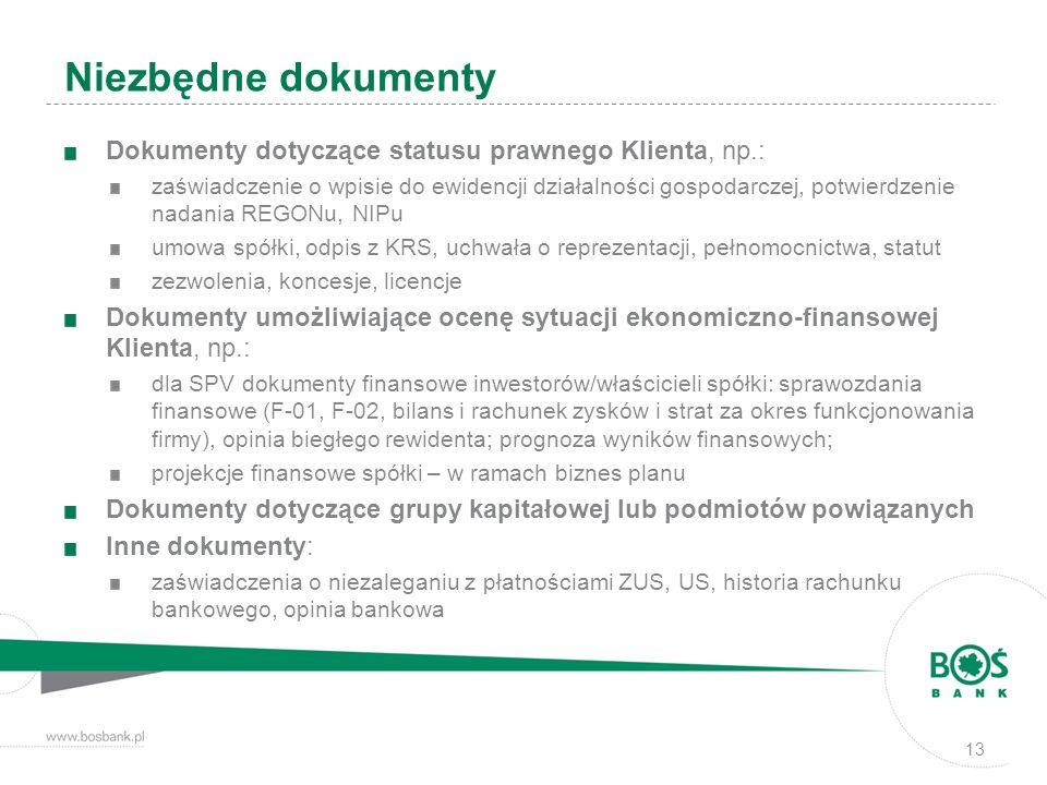 Dokumenty dotyczące statusu prawnego Klienta, np.: zaświadczenie o wpisie do ewidencji działalności gospodarczej, potwierdzenie nadania REGONu, NIPu u