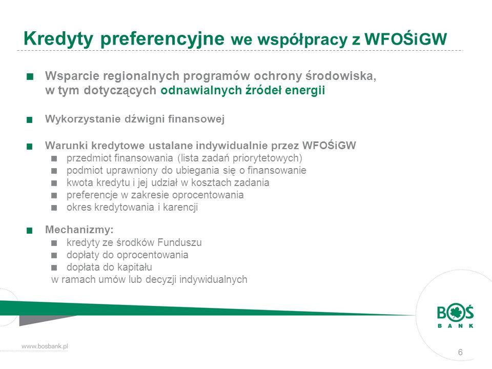 6 Wsparcie regionalnych programów ochrony środowiska, w tym dotyczących odnawialnych źródeł energii Wykorzystanie dźwigni finansowej Warunki kredytowe ustalane indywidualnie przez WFOŚiGW przedmiot finansowania (lista zadań priorytetowych) podmiot uprawniony do ubiegania się o finansowanie kwota kredytu i jej udział w kosztach zadania preferencje w zakresie oprocentowania okres kredytowania i karencji Mechanizmy: kredyty ze środków Funduszu dopłaty do oprocentowania dopłata do kapitału w ramach umów lub decyzji indywidualnych Kredyty preferencyjne we współpracy z WFOŚiGW