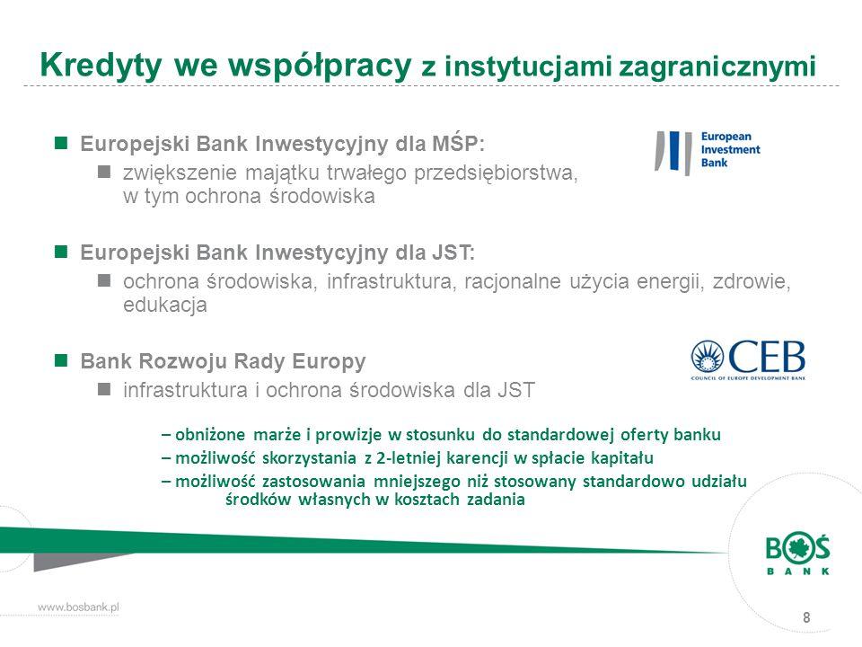 8 Kredyty we współpracy z instytucjami zagranicznymi Europejski Bank Inwestycyjny dla MŚP: zwiększenie majątku trwałego przedsiębiorstwa, w tym ochrona środowiska Europejski Bank Inwestycyjny dla JST: ochrona środowiska, infrastruktura, racjonalne użycia energii, zdrowie, edukacja Bank Rozwoju Rady Europy infrastruktura i ochrona środowiska dla JST – obniżone marże i prowizje w stosunku do standardowej oferty banku – możliwość skorzystania z 2-letniej karencji w spłacie kapitału – możliwość zastosowania mniejszego niż stosowany standardowo udziału środków własnych w kosztach zadania