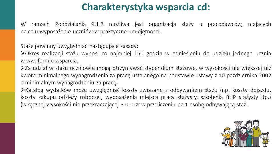 Charakterystyka wsparcia cd: W ramach Poddziałania 9.1.2 możliwa jest organizacja staży u pracodawców, mających na celu wyposażenie uczniów w praktycz