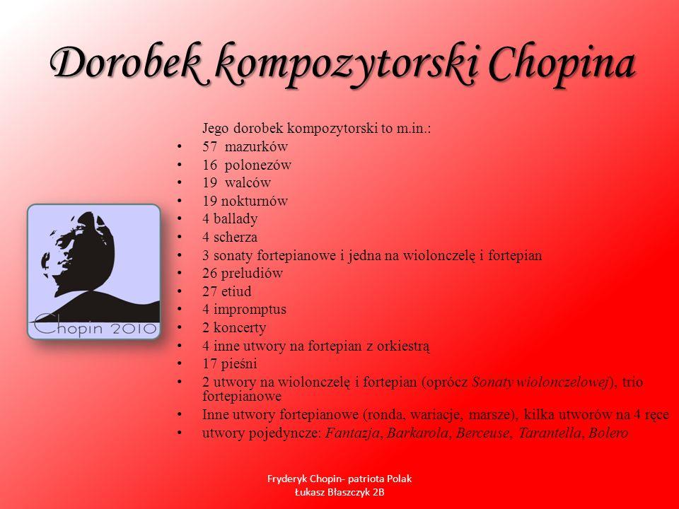 Dorobek kompozytorski Chopina Jego dorobek kompozytorski to m.in.: 57 mazurków 16 polonezów 19 walców 19 nokturnów 4 ballady 4 scherza 3 sonaty fortep
