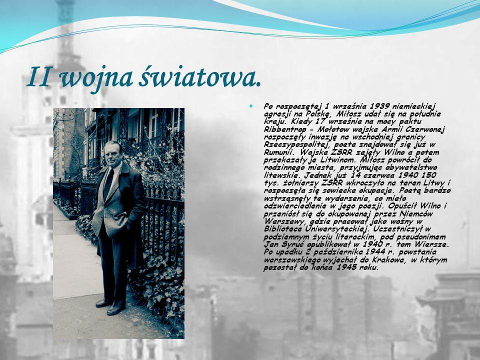 Dzieciństwo i młodość. Czesław Miłosz był pierworodnym synem Aleksandra Miłosza i Weroniki Miłoszowej z Kunatów. Urodził się na ziemiach zabranych, na
