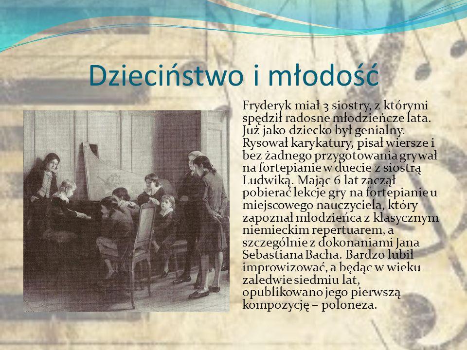 Fryderyk Chopin Fryderyk Chopin przyszedł na świat 1 marca 1810 r. Pochodził z rodziny inteligenckiej. Ojciec Fryderyka, Mikołaj, przybył do Polski w