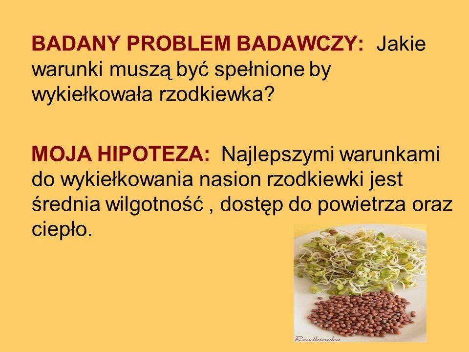 BADANY PROBLEM BADAWCZY: Jakie warunki muszą być spełnione by wykiełkowała rzodkiewka? MOJA HIPOTEZA: Najlepszymi warunkami do wykiełkowania nasion rz