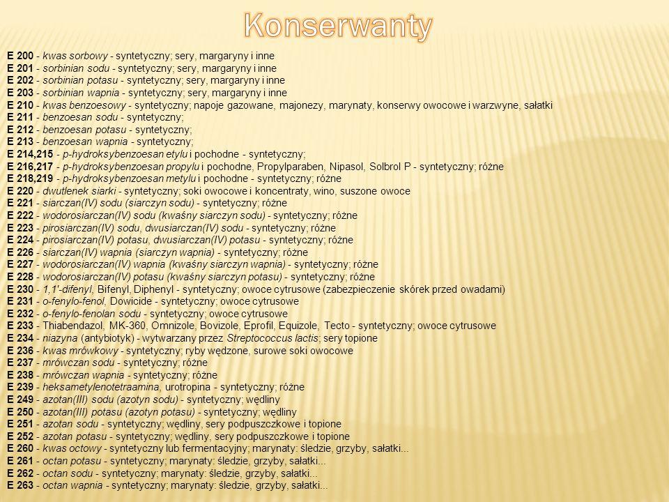 E 200 - kwas sorbowy - syntetyczny; sery, margaryny i inne E 201 - sorbinian sodu - syntetyczny; sery, margaryny i inne E 202 - sorbinian potasu - syn
