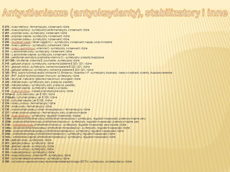 E 270 - kwas mlekowy - fermentacyjny, konserwant; różne E 280 - kwas propinowy - syntetyczny lub fermantacyjny, konserwant; różne E 281 - propinian so