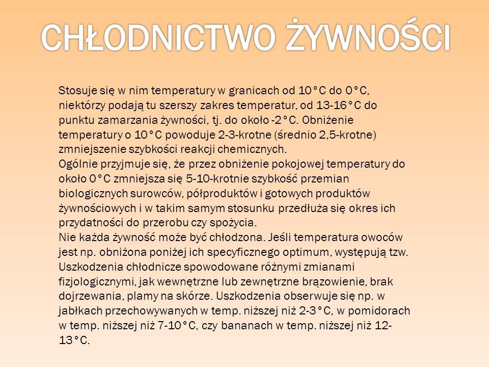 Zamrażanie polega na szybkim schłodzeniu produktu do temperatury -20°C do -40°C (ale zwykle nie poniżej -30°C i rzadko dochodzącej do - 40°C) i utrzymaniu jej poniżej -18°C w czasie całego okresu przechowywania produktów w chłodni.