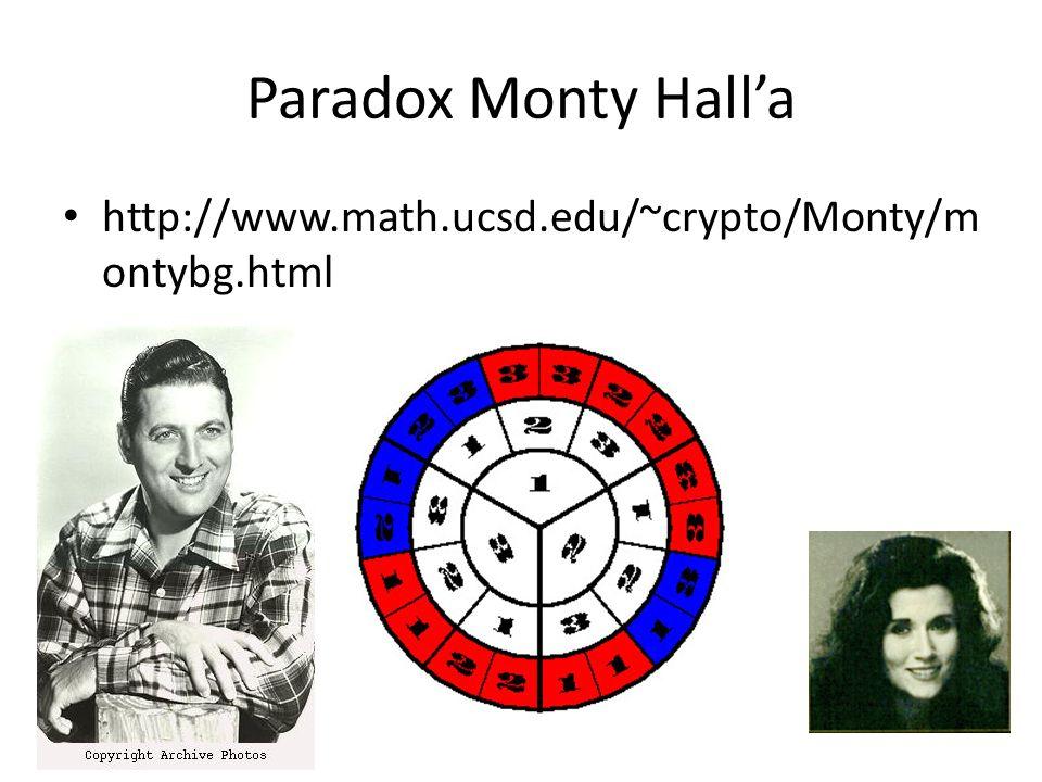 Paradox Monty Halla http://www.math.ucsd.edu/~crypto/Monty/m ontybg.html