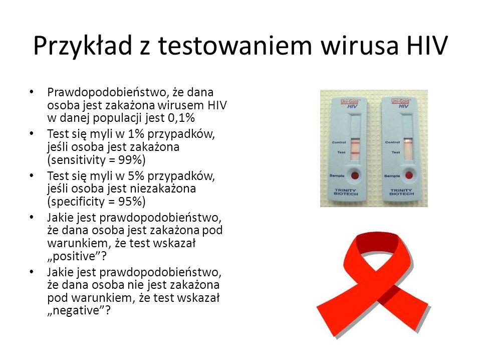 Przykład z testowaniem wirusa HIV Prawdopodobieństwo, że dana osoba jest zakażona wirusem HIV w danej populacji jest 0,1% Test się myli w 1% przypadkó
