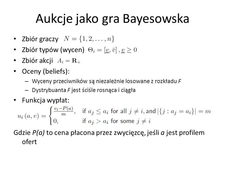 Aukcje jako gra Bayesowska Zbiór graczy Zbiór typów (wycen) Zbiór akcji Oceny (beliefs): – Wyceny przeciwników są niezależnie losowane z rozkładu F –