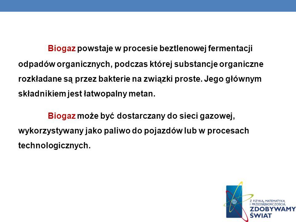Biogaz powstaje w procesie beztlenowej fermentacji odpadów organicznych, podczas której substancje organiczne rozkładane są przez bakterie na związki