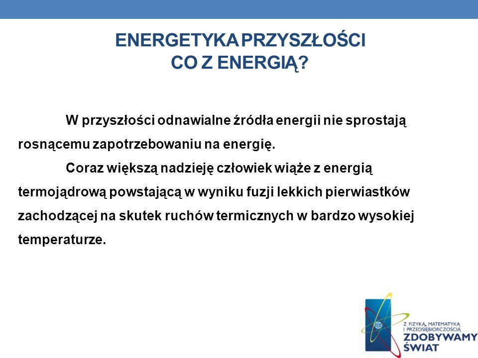 ENERGETYKA PRZYSZŁOŚCI CO Z ENERGIĄ? W przyszłości odnawialne źródła energii nie sprostają rosnącemu zapotrzebowaniu na energię. Coraz większą nadziej