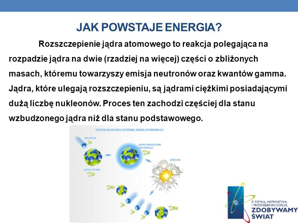 JAK POWSTAJE ENERGIA? Rozszczepienie jądra atomowego to reakcja polegająca na rozpadzie jądra na dwie (rzadziej na więcej) części o zbliżonych masach,